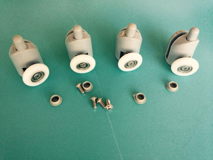 [Visit to Buy] Set of 4  Bottom Single SHOWER Door ROLLERS / Runners / Pulleys 25mm Wheels  #Advertisement