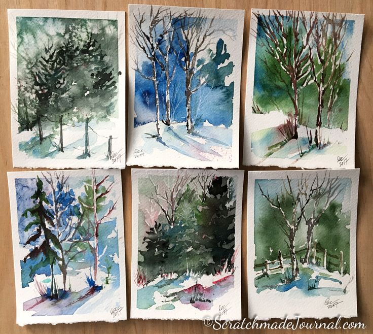 Watercolors of winter woodland landscape scenes - ScratchmadeJournal.com
