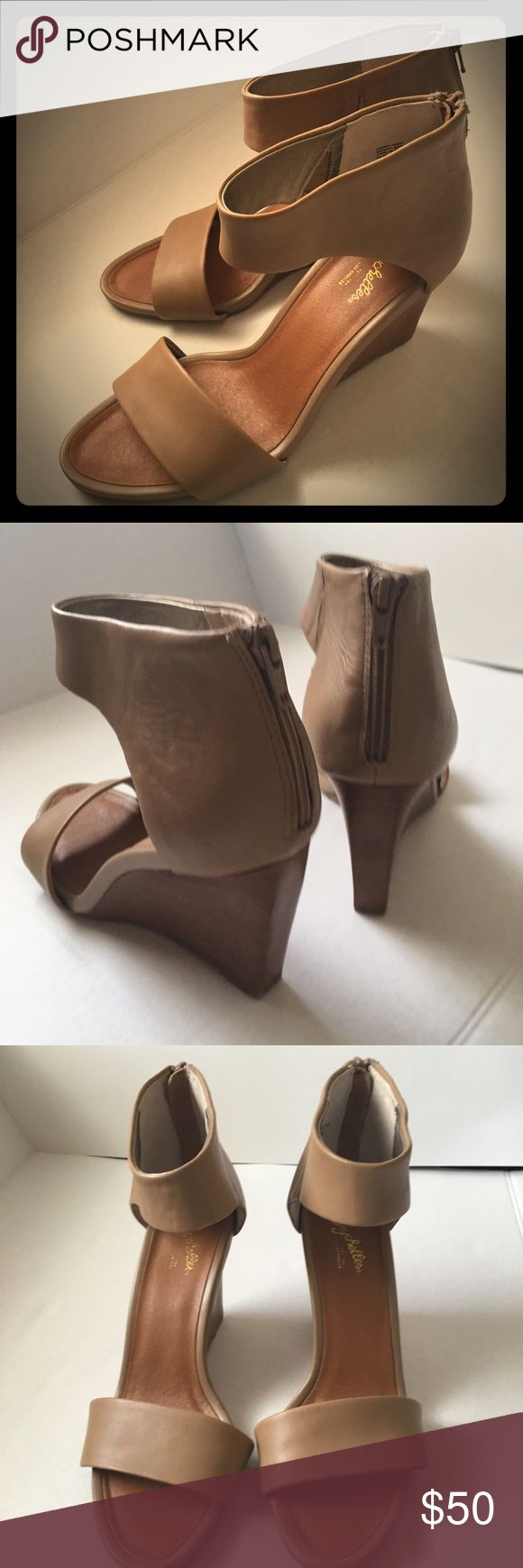 Seychelles Leather Wedges Excellent condition beautiful Cognac brown leather worn a few times Seychelles Shoes Wedges