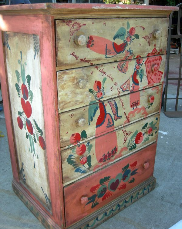 PETER HUNT HAND PAINTED CHEST - 1940'S FOLK ART | T-M-Cowboy Classics