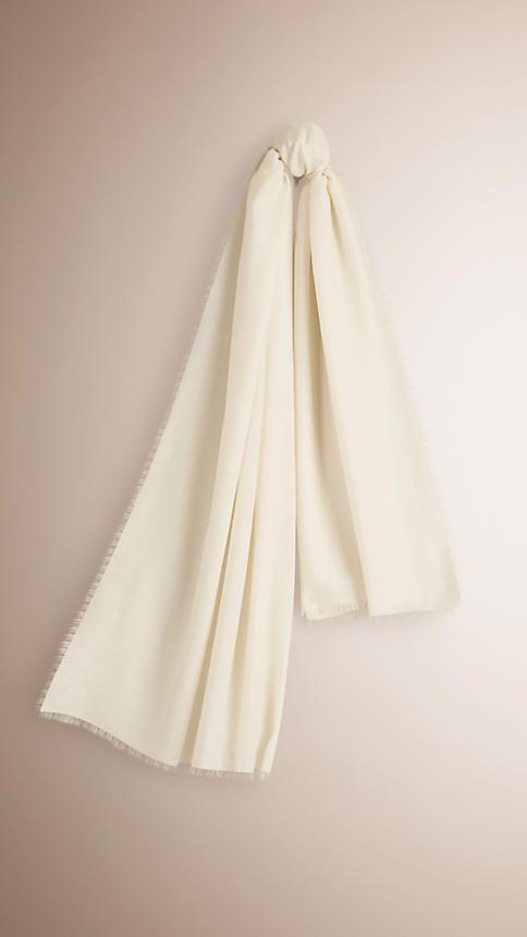 Branco natural Echarpe leve de cashmere -  1