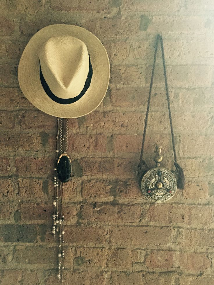 Travellin' Hat, Rapper Necklace, Hippie Leather & Pearl Strap, and Moroccan Antique Canteen.