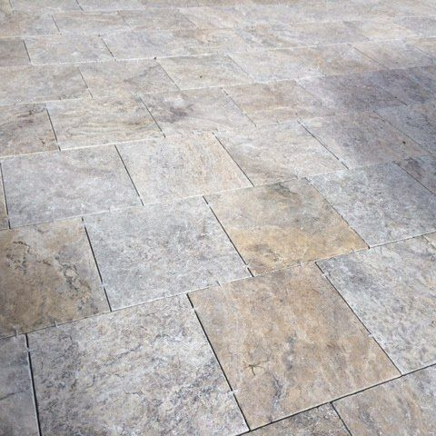 Amber Tiles Kellyville: Crema grigio travertine pavers laid by ATF landscaping. #travertine #courtyard #naturalstone #ambertiles #ambertileskellyville