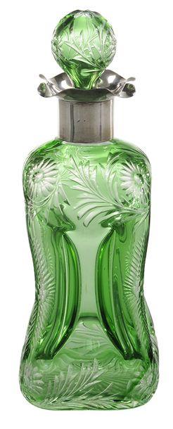 Perfume Bottle; Stevens & Williams, Cut & Engraved, Floral, Emerald…