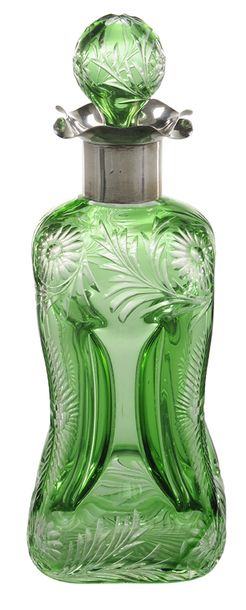 Perfume Bottle; Stevens & Williams, Cut & Engraved, Floral, Emerald…