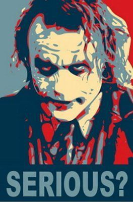 Click Here. Double your traffic. Get Vendio Gallery - Now FREE! Payment   Shipping   Additional Information 19X13 BATMAN Heath Ledger JOKER poster art print RARE Click to View Image Album This is a ve