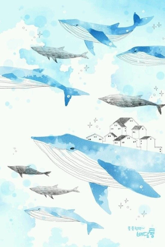 72 best flying whales images on pinterest collar stays for Alex cherry flying whales wall mural