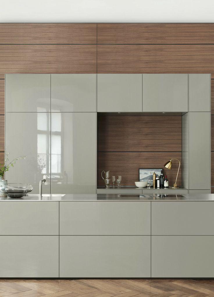 Küche, Hochglanz, Hochglanzfronten, Küchenfronten, Grau, Hellgrau, Beige, Holz …