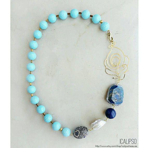 Guarda questo articolo nel mio negozio Etsy https://www.etsy.com/it/listing/496834302/gioielli-in-turchese-collana-decolte