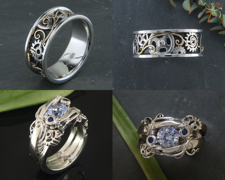 Steampunk wedding set: Custom setting with sapphire (hers) & custom band with gold filigree (his). Ron needs another ring