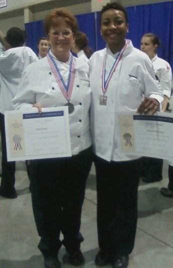 With our Cake Design and Decorating Chef, Karen Gray - Way to go team Wake Tech! Lots of medals were handed out today! There was so much effort displayed on that floor. The show tomorrow will be impressive!