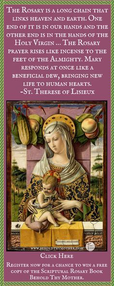 "Beautiful painting by Carlo Crivelli (1435-1495). Register for a chance to win a free copy of ""Behold Thy Mother"" an English/Latin Scriptural Rosary book. www.beholdthymother.com"