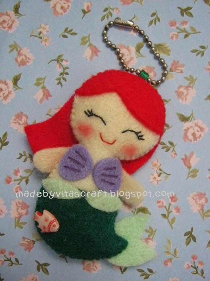 Ariel Disney Princess Felt Doll Keychain 2