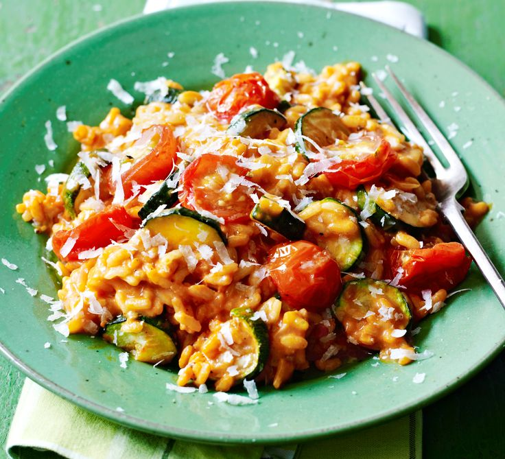 Tomato & courgette risotto: Roast a glut of summer vegetables and serve in this creamy Italian classic, finished with mascarpone and grated Parmesa