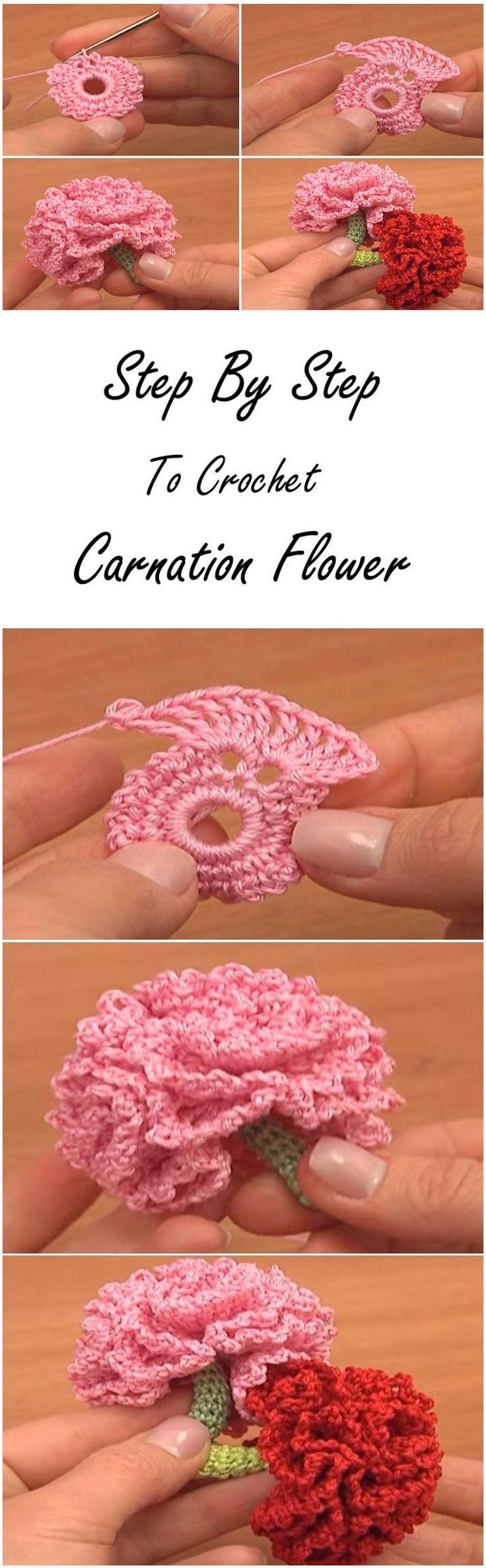 step by step to crochet carnation flower