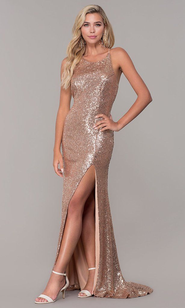 Roiii fashion sexy backless binding twinkle floor-length long party dresses  rose gold color 94abdaf72c9b