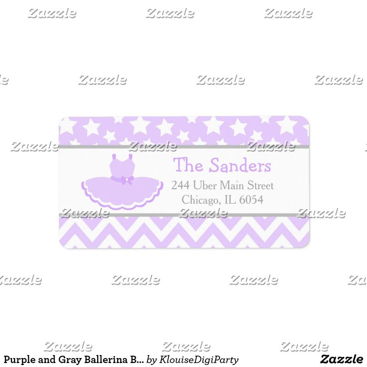 Purple and Gray Ballerina Baby Shower Label