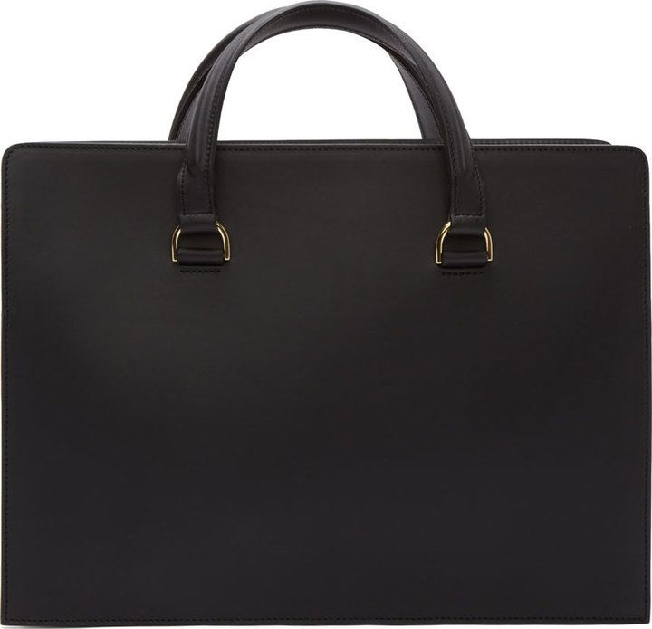 $1,155, Black Leather Tote Bag: Pb 0110 Black Matte Leather Briefcase Tote. Sold by SSENSE. Click for more info: http://lookastic.com/women/shop_items/138218/redirect