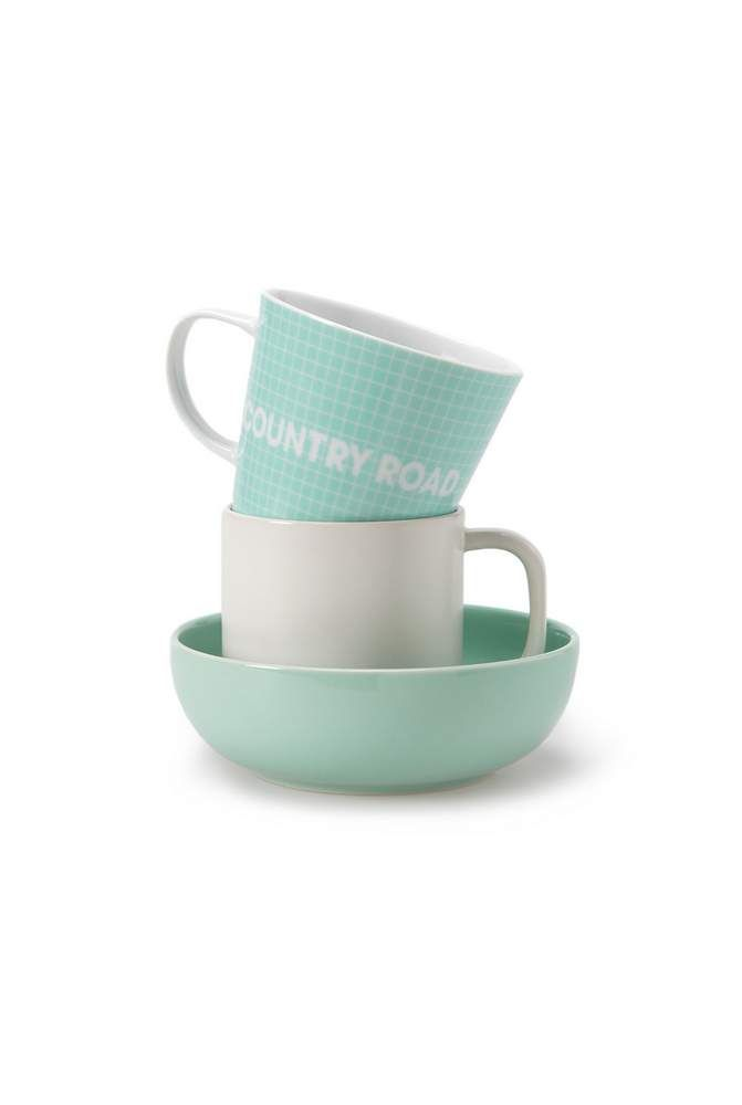 Start your day right with our modern grid check porcelain mug. Mix and match colours or use as an accent to our classic Brynn dinnerware collection. Country Road Home - Spring 2014