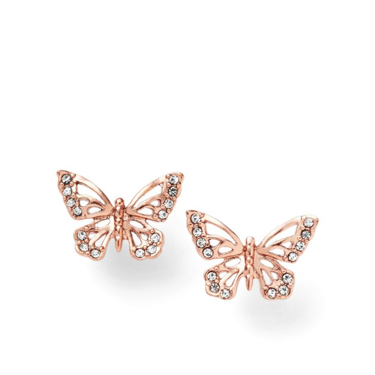 Fossil Butterfly Earrings - Rose  I love butterflies! These match the wrist wrap that I wear all the time.