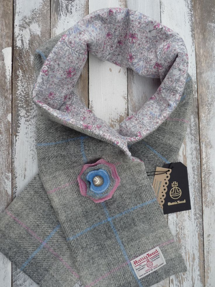 Harris Tweed Scarf & Brooch, Liberty of London Lining, Ladies Scottish Gift Set, Harris Tweed Flower  Brooch Corsage by TheCrimsonCoo on Etsy