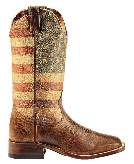 Boulet Bandiera USA Cowgirl Boots - Square Toe
