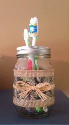 Camo & Burlap Mason Jar Toothbrush Holder