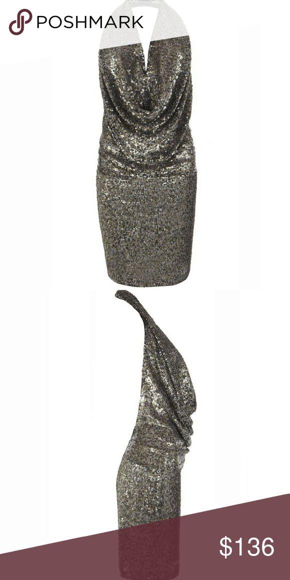 All Saints Balentina Metallic Sequin Dress size 10 Stunning backless halter mini dress. Worn once. Some sequins missing. Black mixed metallic color. Size 10. All Saints Dresses Mini