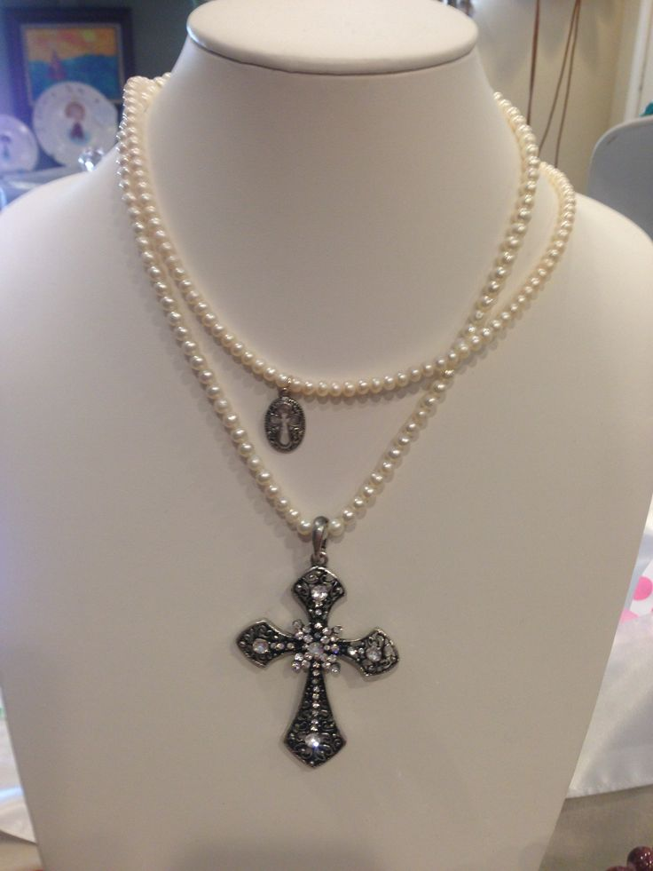 Pearl & Cross Necklace