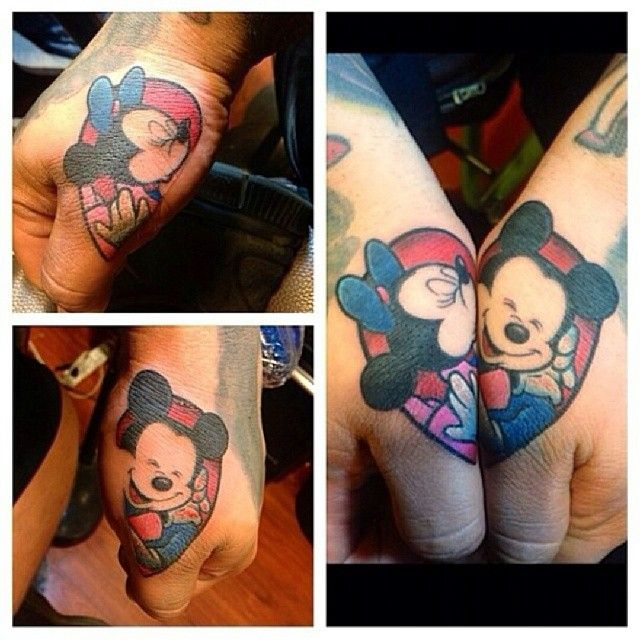 disney mini and mickey mouse hand tattoo's