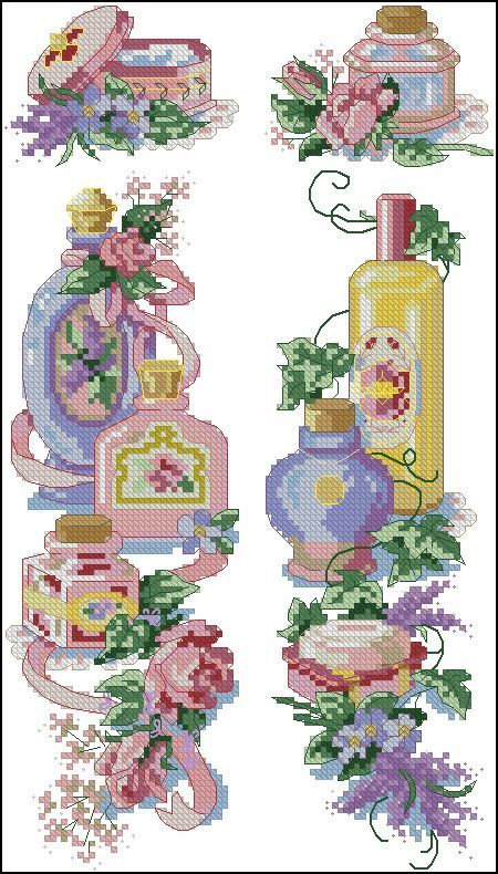 0 point de croix beauty bottles of perfume - cross stitch bouteilles de parfum
