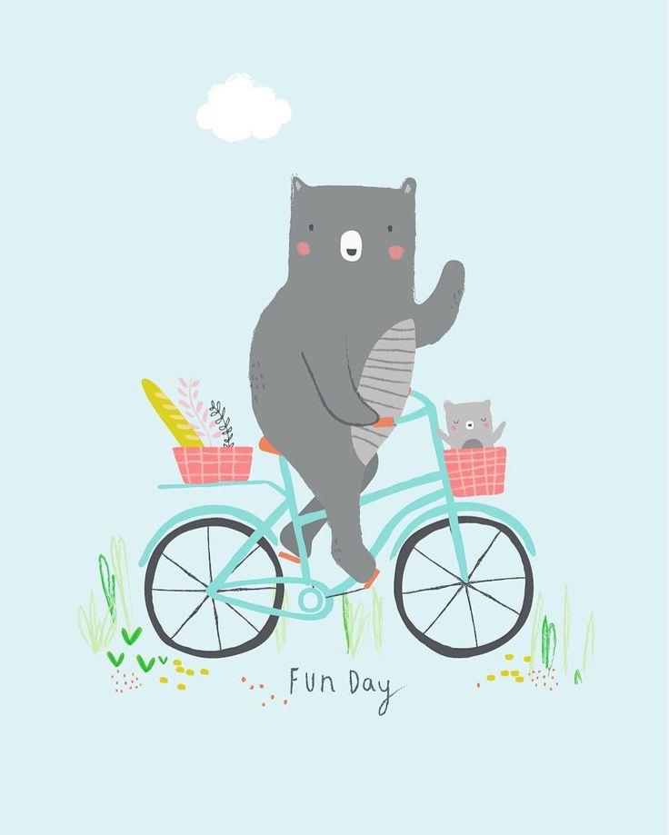 Bears havin' fun! Aless Baylis for Petite Louise. #illustration #bear #bike