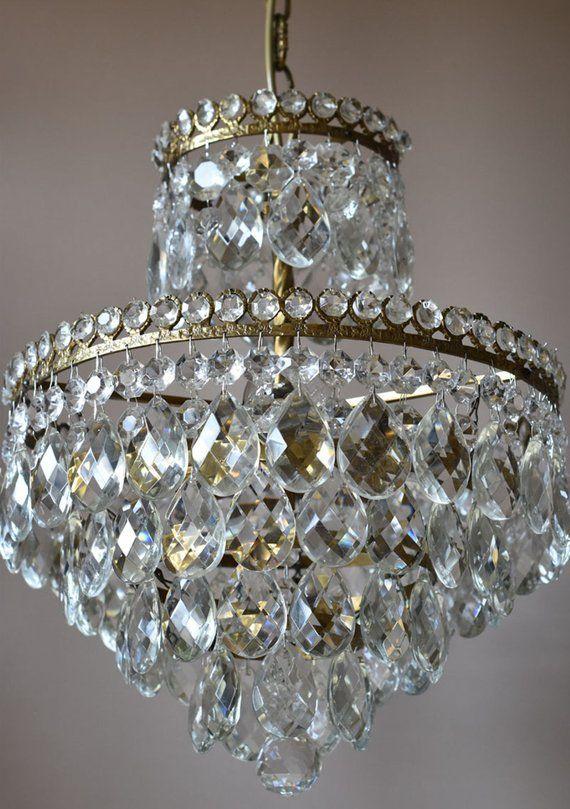 Brass Antique Chandelier French Vintage Crystal Chandeliers Etsy In 2020 Vintage Crystal Chandelier Antique Chandelier French Antiques