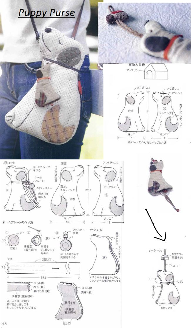Puppy Purse (from jaoanese book My Quilt Days by  by Akemi Shibata  )