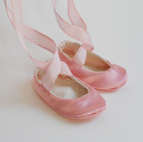 Pink Ankle Ribbon Ballet Slipper For Baby Girl