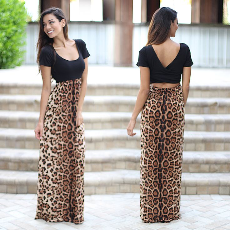 Say ROAR! This amazing new Leopard Maxi Dress With Criss Cross Back is super comfy and it features stunning leopard top and pockets! What more can you ask for?! You're going to go WILD for this maxi dress! See other beautiful new arrivals at our online dress shop!