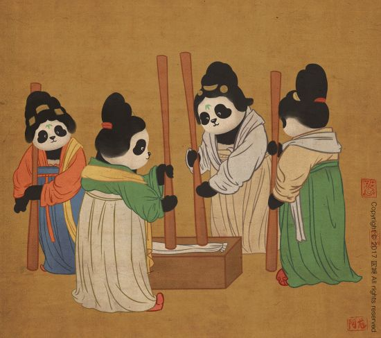 A group of panda palace ladies in Tang Dynasty fashion doing laundry together