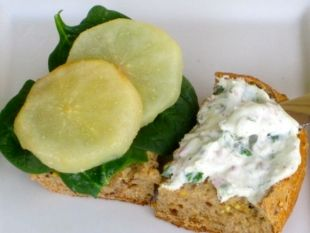 Roasted Pear Sandwich with Baby Spinach