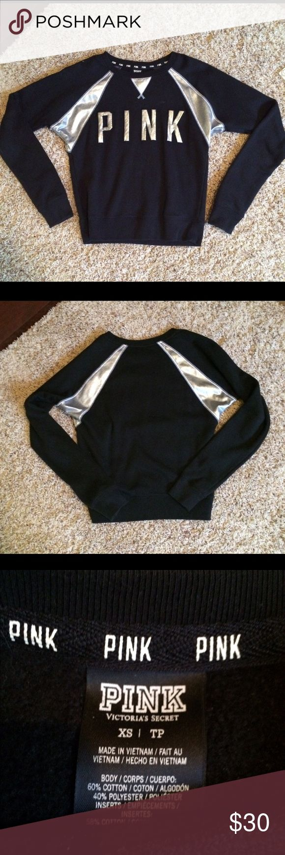 💋🐼PINK Victoria Secret sweatshirt💋🐼 black with silver letters and accent, soft sweatshirt material...only worn a couple times PINK Victoria's Secret Sweaters Crew & Scoop Necks