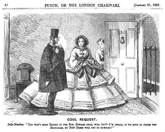 Cartoon in Punch Magazine, which frequently lampooned crinoline.: