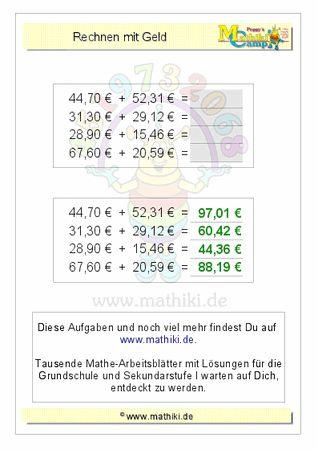 Rechnen mit Geld (ZE,Z0€+ZE,ZE€) - ©2011-2016, www.mathiki.de - Ihre Matheseite im Internet #math #money #geld #euro #cent #arbeitsblatt #worksheet