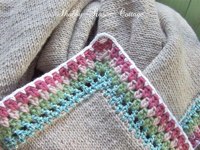 Knitting Edges For Blankets : Shabby roses cottage crochet edging on a knitted blanket