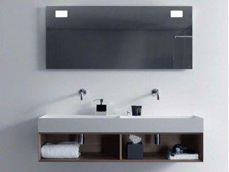 mueble bajo lavabo doble suspendido de madera con espejo quattrozero mueble bajo lavabo