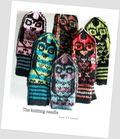 Owl mittens. Pattern on ravelry : http://www.ravelry.com/patterns/library/norwegian-style-owlmittens