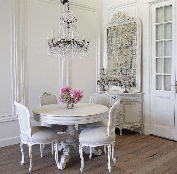 Antique French Rococo dining chairs in linen by FullBloomCottage