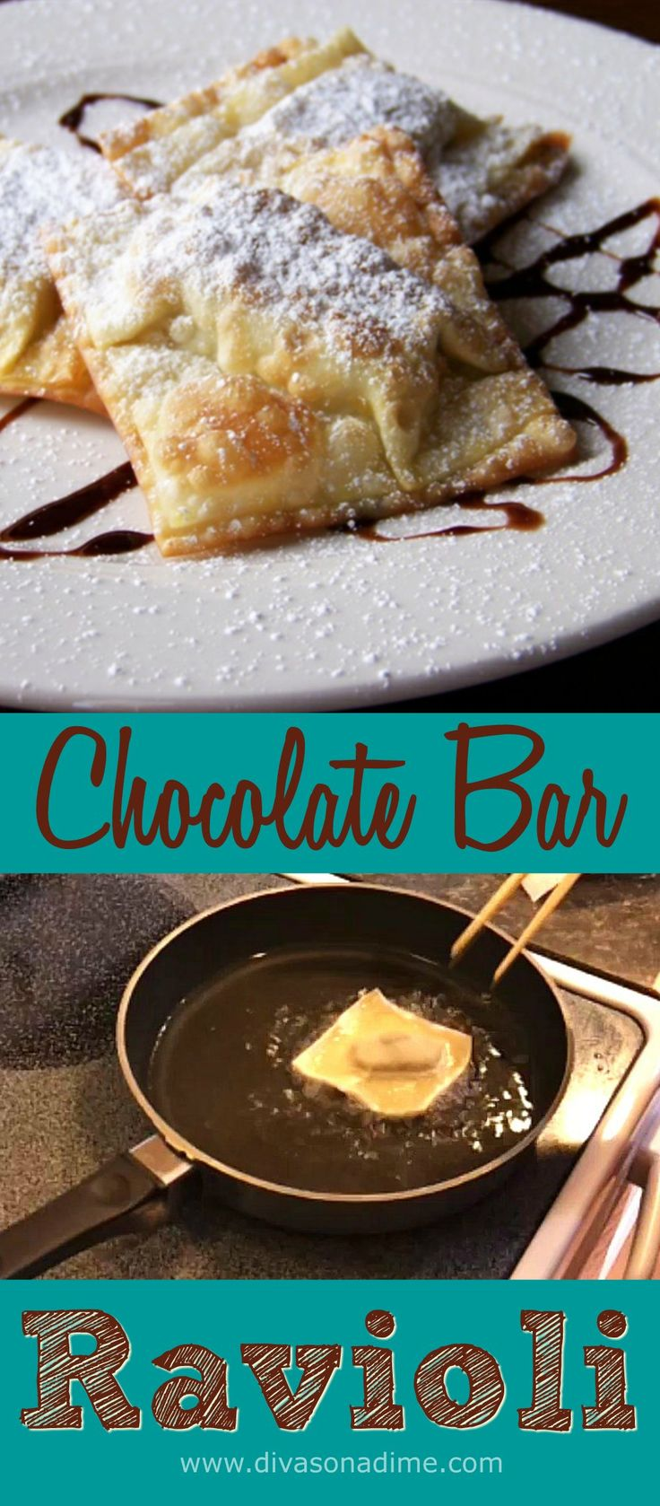 Here's a swoon worthy recipe for deep frying chocolate bars at home! Complete with a crispy flakey wonton wrapper. Too good to be true – and totally cheap to make! This fast and easy dessert is done in literally fifteen minutes from start to finish.