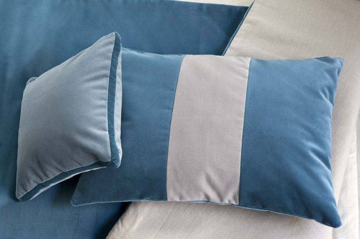 MarinaC - decorative cushions in turquoise and taupe velvet #marinacmilano www.marinac.it