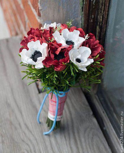 """Свадебные цветы ручной работы. Заказать Свадебный букет из полимерной глины """"Красные и белые анемоны"""". Власова Яна. Ярмарка Мастеров."""