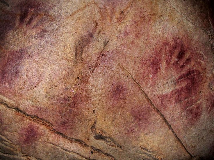 A photo of cave paintings in the limestone cave on the Indonesian side of Sulawesi, suspected to date back to 40,000 years ago.