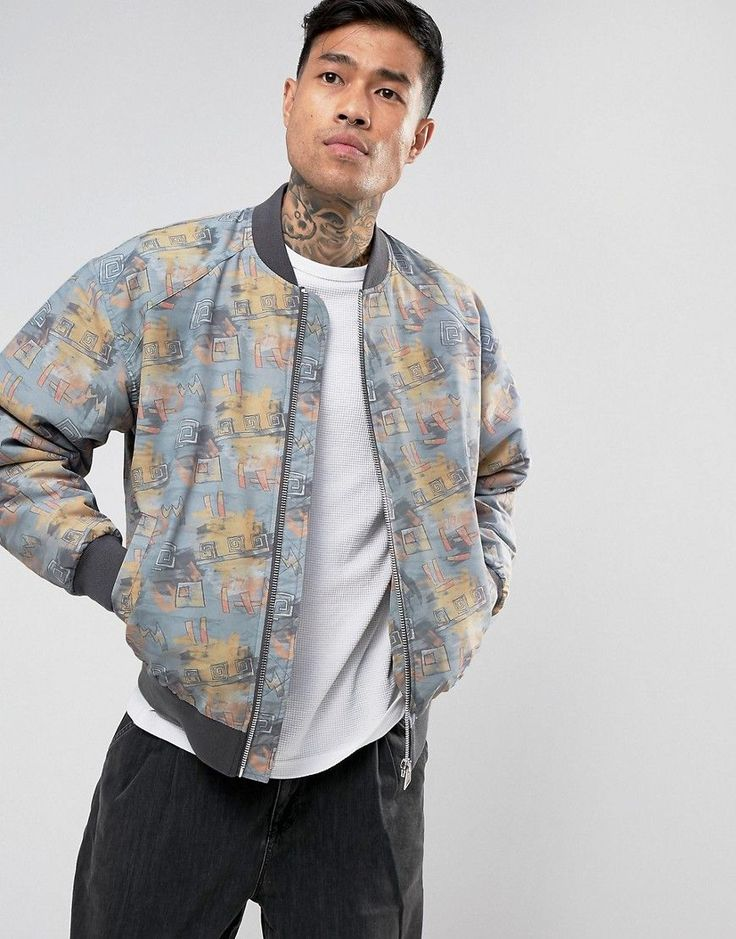 Get this Asos's bomber jacket now! Click for more details. Worldwide shipping. ASOS Bomber Jacket With Retro Print In Grey - Grey: Bomber Jacket by ASOS, Printed durable nylon, Lined with internal pocket, Baseball collar, Zip opening, Side pockets, Ribbed hem and cuffs, Regular fit - true to size, Machine wash, 100% Nylon, Our model wears a size Medium and is 183cm/6'0 tall. ASOS menswear shuts down the new season with the latest trends and the coolest products, designed in London and sold…
